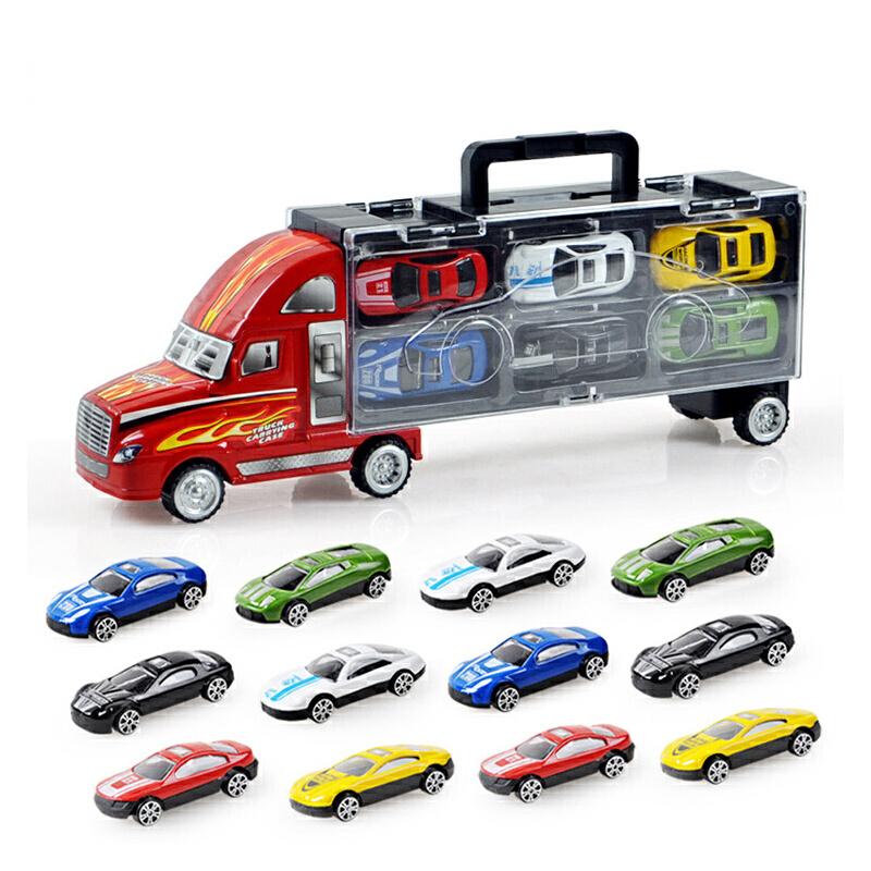 【每满100减50】儿童早教益智手提货柜车玩具车模型送12小车男孩3-6岁生日礼物玩具 满100减50 满200减100 多买多减 上不封顶