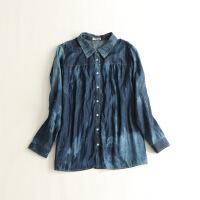 秋装女长袖牛仔衬衫 宽松大码水洗显瘦上衣衬衣C