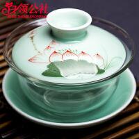 白领公社 茶杯 青瓷手绘盖碗加厚耐热温大容量180ML玻璃盖碗茶杯茶道泡茶器功夫茶具茶碗泡茶杯茶具