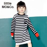 littlemoco女圆领撞色条纹中长款羊毛连衣裙KA171DRS304 moco