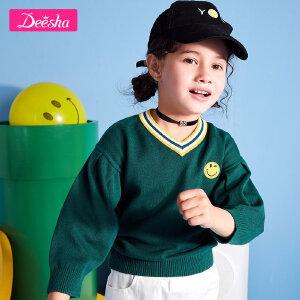 【2折价:41】笛莎女童针织衫套头长袖2019春新款中大童儿童毛衣韩版宽松线衣-绿色