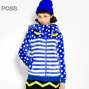 PASS原创潮牌冬装 加厚保暖法兰绒高领长袖带帽条纹短外套女6541412049