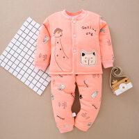 婴儿棉衣套装冬季夹棉加厚0新生儿衣服1-2岁男女宝宝保暖内衣