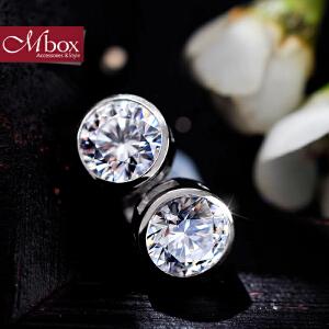 新年礼物Mbox耳钉 气质女款韩国版S925银镶嵌施华洛世奇锆石耳钉 钻石情缘