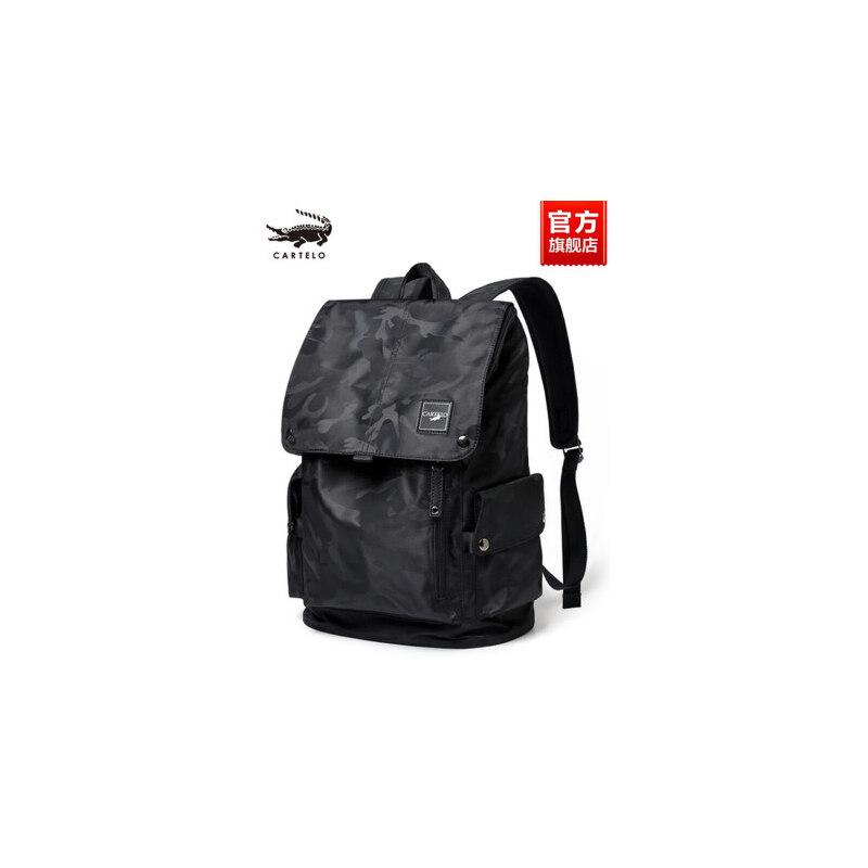 鳄鱼男士旅游旅行包帆布简约时尚潮流书包双肩包商务休闲电脑背包 新加坡70年品牌