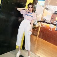 套装女夏2018韩版新款百搭时尚冰丝字母针织衫配高腰花苞阔腿裤潮
