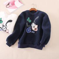 加厚羊羔毛冬季女士宽松圆领套头卫衣保暖卡通外套绒衫 W2076