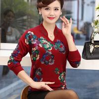 中老年女装长袖100%纯羊毛衫40岁50岁妈妈秋装毛衣打底衫短款上衣