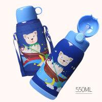 face儿童保温水杯带吸管两用316不锈钢小学生幼儿园宝宝防摔水壶a225