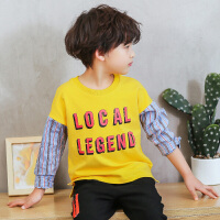 中童男童t恤长袖纯棉春秋款新款韩版春装上衣小学生衣服潮衣