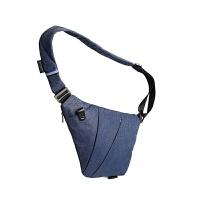 收纳包男士斜挎胸包多功能运动骑行包 单肩腰包 爵士蓝右手款 在左边右手取东西