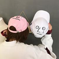 韩国春夏恶搞个性刺绣卡通表情学生遮阳棒球帽百搭情侣男女帽子潮