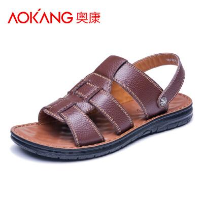 奥康男鞋夏季男士凉鞋2018新款真皮凉鞋男潮流休闲鞋沙滩鞋