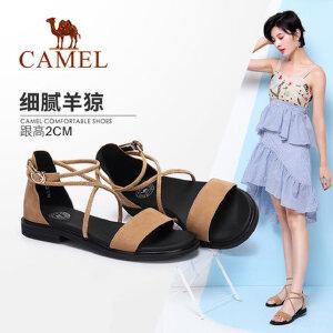 骆驼女鞋 2018新款夏百搭简约绑带平底凉鞋女 韩版潮流舒适低跟鞋