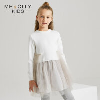 【1件4折到手价:142.4】米喜迪mecity童装春秋款女童拼接网纱连衣裙