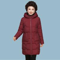 №【2019新款】送妈妈的冬装棉衣连帽中长款中年洋气外套中老年女装羽绒棉袄