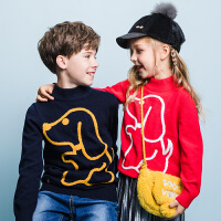 【3件3折:79元】暇步士童装春季新款男女同款针织衫时尚简约卡通套头线衣儿童针织衫(80-130)