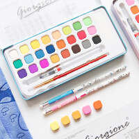 本小姐 多彩固体水彩颜料 美术绘画颜料 18/24色套装便携盒装颜料