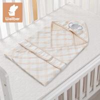 威尔贝鲁(WELLBER) 婴儿抱被彩棉宝宝纱布包巾新生儿包被
