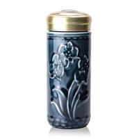 乾唐轩活瓷杯蝴蝶兰花随身杯双层250ml创意陶瓷办公茶水杯子女