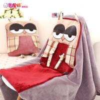 抱枕被子两用靠垫午睡枕头一体汽车被珊瑚绒空调被靠枕毯
