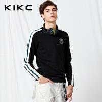 【商场同款】kikc针织衫男 2018春季新款韩版撞色长袖休闲毛衣男