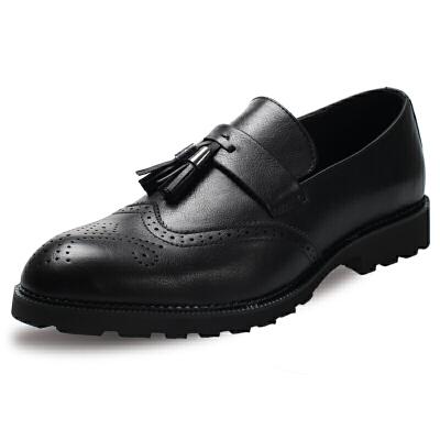 皮鞋男士英伦韩版流苏套脚鞋子休闲大码发型师潮鞋布洛克男鞋雕花