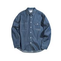 新年优惠【NEW】工装复古牛仔衬衫长袖 2018新款秋季青年潮牌宽松衬衣 牛仔深蓝