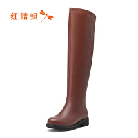 【红蜻蜓领�涣⒓�150】红蜻蜓女靴冬季新款正品高筒绒里平跟长筒靴过膝靴女靴子