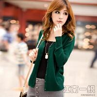 春秋外搭针织衫针织开衫女披肩外套短款秋季薄款上衣v领线衣 墨绿色 M