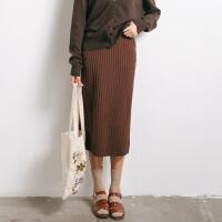 女装 秋装新款韩版时尚修身弹力高腰针织包臀裙一步裙半身裙