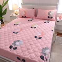 ???纯棉床笠单件全棉夹棉席梦思保护套防滑薄棕垫床垫套1.8m防尘床罩