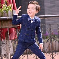 韩版男童小西装套装儿童西服宝宝三件套男孩主持人小孩钢琴演出服