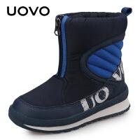 UOVO男童靴子2021新款冬季男童雪地棉靴中大童保暖短靴潮户外运动 棉花堡新