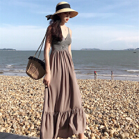 小香风连衣裙女2018流行女装新款韩版拼接条纹长款吊带裙A字裙