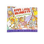 进口英文原版绘本 Five Little Monkeys Jumping on the Bed 五只猴子在床上跳来跳去