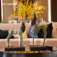 欧式美式酒柜麋鹿摆件家居客厅电视柜样板房工艺软装饰品结婚礼物
