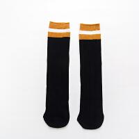 秋冬儿童条纹中长筒袜学生运动袜过膝半筒儿童堆堆袜子qg 【TZ011】黑色 3双装 1-8岁都可以