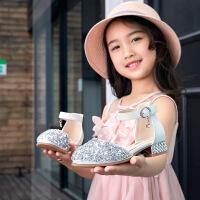 女童皮鞋女孩模特走秀水晶儿童高跟鞋公主鞋小主持礼服演出鞋单鞋