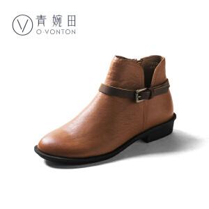 青婉田2018春冬新款短靴女中跟短筒靴子真皮复古切尔西靴女扣带