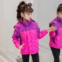 女童外套中大童三合一可拆卸风衣儿童冲锋衣加绒秋冬户外加厚童装