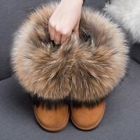 皮毛一�w厚底雪地靴�仍龈吲��W生短靴防水冬保暖棉鞋女 TBP