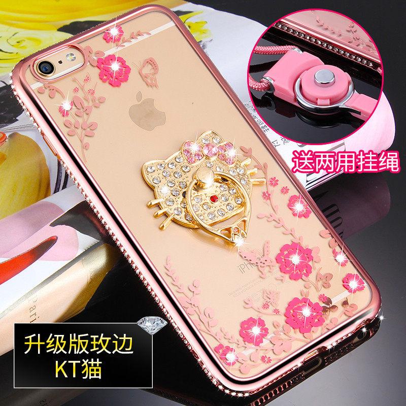 优品iphone6s plus手机壳 苹果6plus保护套5.5全包透明硅胶软指环潮女 电镀防摔防滑不变形不发黄