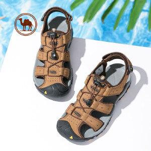 骆驼牌男鞋 夏季户外休闲魔术贴沙滩凉鞋 透气防滑男士包头皮凉鞋