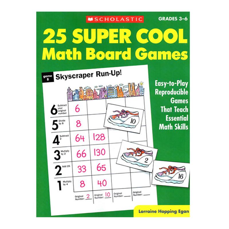 25 Super Cool Math Board Games Grade 3-6 25个超酷的棋盘数学游戏 Scholastic 从这本游戏书中,孩子们可以学到:乘法、除法、分数、概率、估算、心算等等。简单的游戏规则让孩子们更容易被吸引,老师们赶快将这本书加入到你们的常规教学吧,接下来您只要坐等这些学科的分数飙升咯!