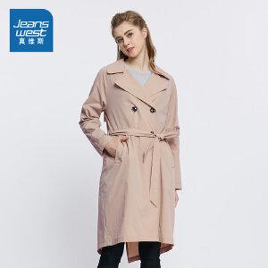 真维斯女装 2018春装  时尚长款宽松休闲外套
