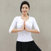 新款瑜伽服女白色单上衣 飘逸显瘦比赛服舞蹈演出服上衣女黑色T恤