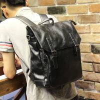 双肩包男士背包女韩版高中学生书包单肩包斜挎包休闲商务电脑包SN8557 黑色 全场满2件送手包