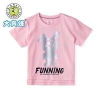 大黄蜂童装 女童短袖2019夏季新款小女孩可爱卡通洋气儿童短袖T恤