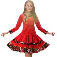 2018新款广场舞服装新款套装金丝绒长袖裙子跳舞穿的衣服裙裤运动 大红上衣+短裙【上下衣分开购买尺码 联系即可】
